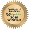 trip advisor certificate of excellence award 2016